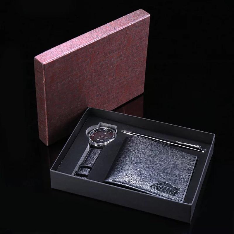 Men Watch Gifts Set For Ballpoint Pen PU Wallet Fashion Quartz Wristwatch Luxury