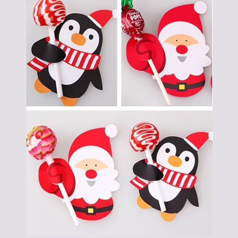 50pcs Hot Sale Penguin Santa Claus Lollipop Paper Card Decoration Birthday Party Candy Decor Christmas Candy Gift For Kids 7
