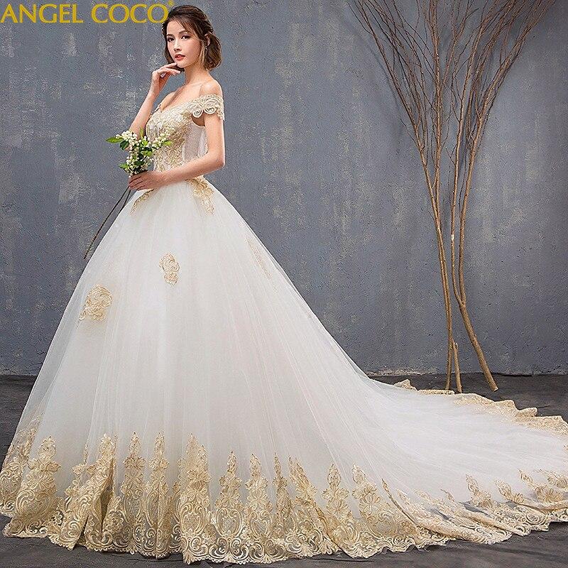 Luxury Appliques Shoulderless Lace Flower Bride Plus Size Pregnant Women  Train Ivory Wedding Dresses Maternity Clothing 1c967227a2f5