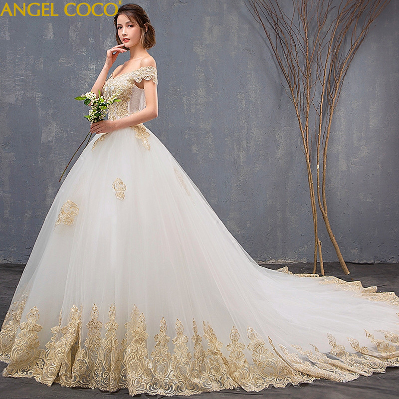 Luxury Appliques Shoulderless Lace Flower Bride Plus Size Pregnant Women Train Ivory Wedding Dresses Maternity Clothing shoulder cut plus size flower blouse
