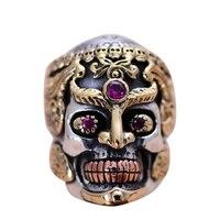 Echt Solide 925 Sterling Silber Großen Schädel Ringe für Männer Gelb Gold Farbe Vintage Gothic Punk Thai Silber Ring Gepflasterte Rote Granat