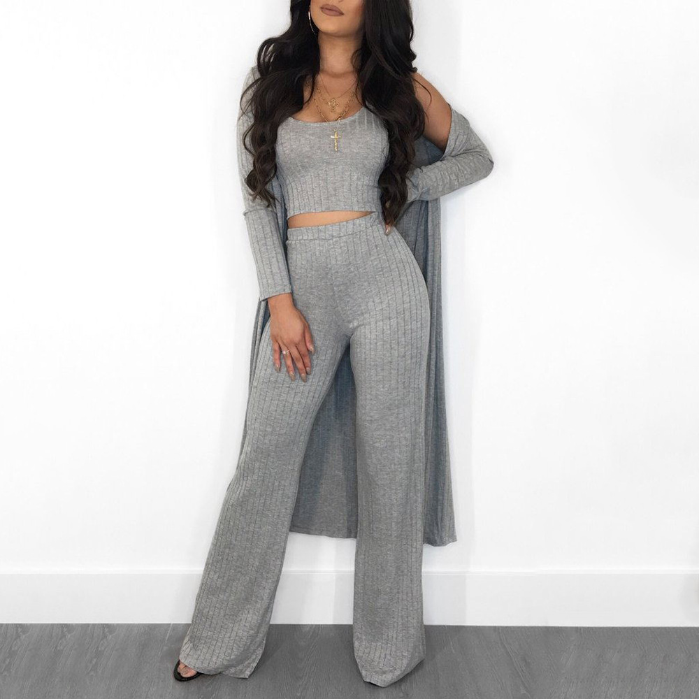Echoine Women Sexy 3 Pieces Set Cardigans Tracksuit Women Ribbed Knit Crop Top And Pants Set 2 Piece Sets Women Boadycon Outfits