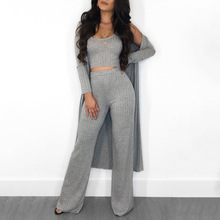 Echoine Women Sexy 3 Pieces Set Cardigans Tracksuit Ribbed Knit Crop Top And Pants 2 Piece Sets Boadycon Outfits