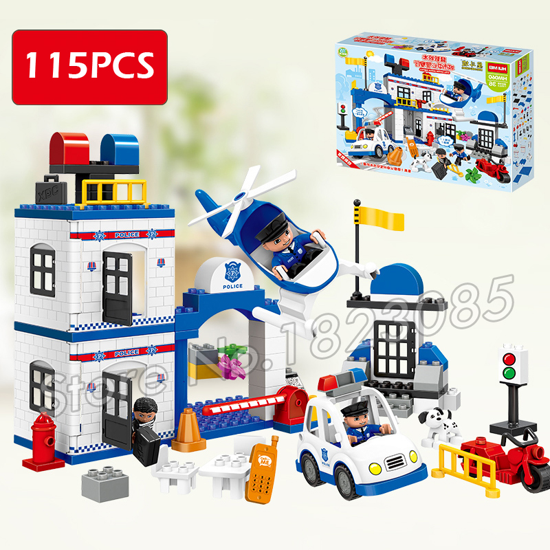 ФОТО 115pcs ville my first police station set model big size building blocks minifigure bricks kids toys compatible with lego duplo