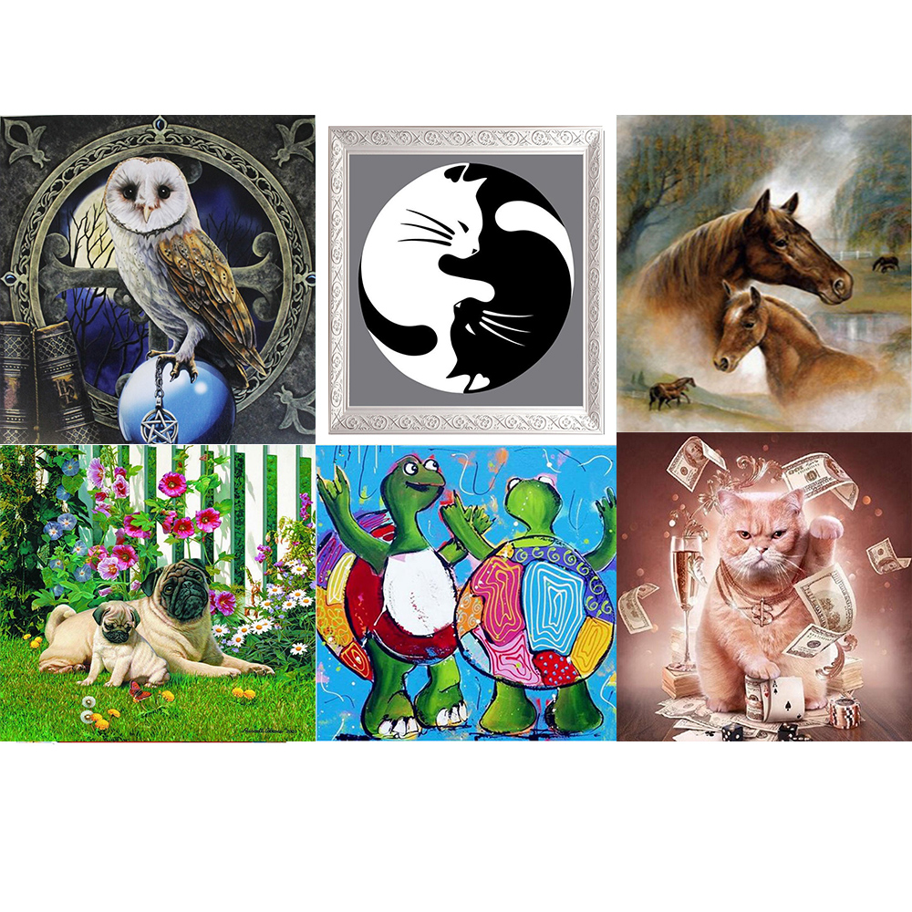 Round 5D Embroidery  DIY Cat And Horse Diamond Painting Cross Stitch Kits Mosaic