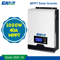 Источник питания Easun 1KVA солнечный инвертор 1000 Вт 12 В Чистая синусоида Инвертор 40A MPPT решетки инвертор 220 В Hybrid инвертор 20A AC Зарядное устройст