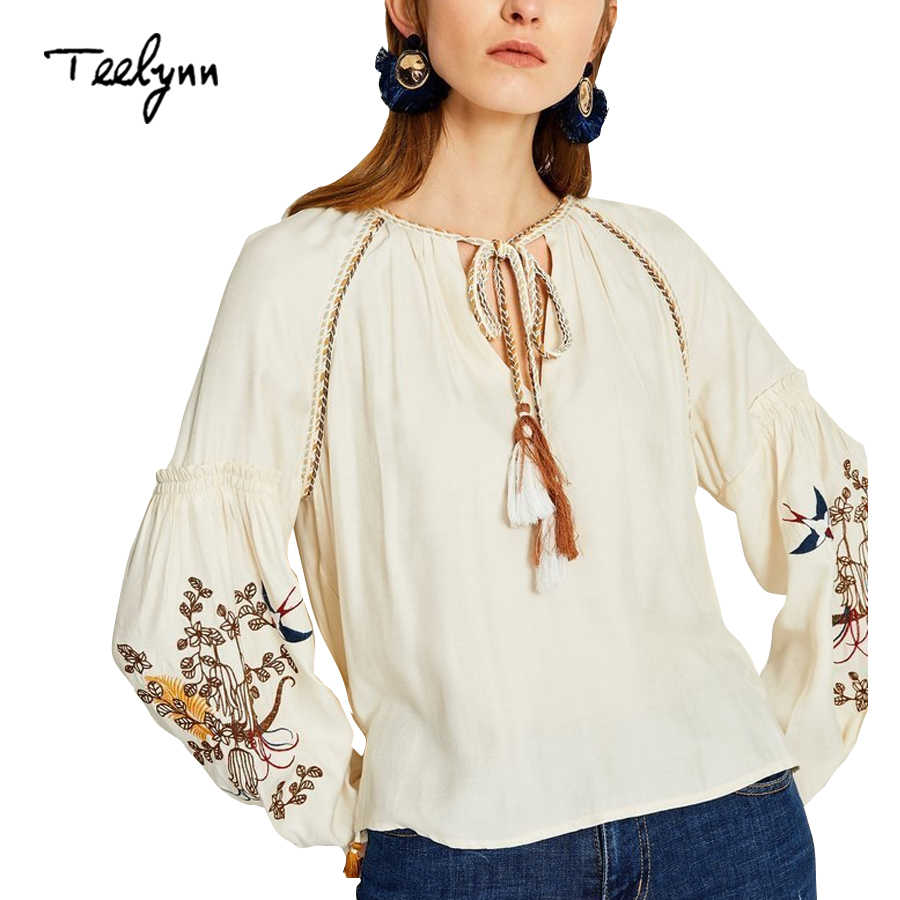 0df68b3671a TEELYNN rayon boho blouse 2018 sleeves floral embroidered o-neck long sleeve  tassel blouses hippie
