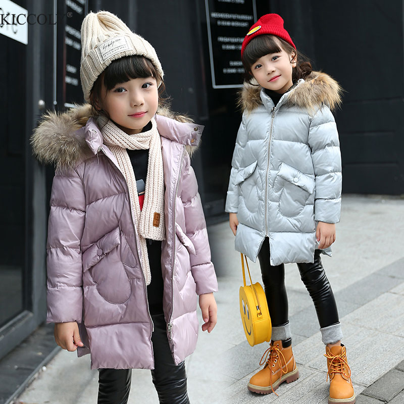 2017 New Kids Long Parkas For Girls  Fur Hooded Coat  Winter Warm Down Jacket  Children Outerwear Infants Thick Overcoat 3T-14T new winter girls boys hooded cotton jacket kids thick warm coat rex rabbit hair super large raccoon fur collar jacket 17n1120