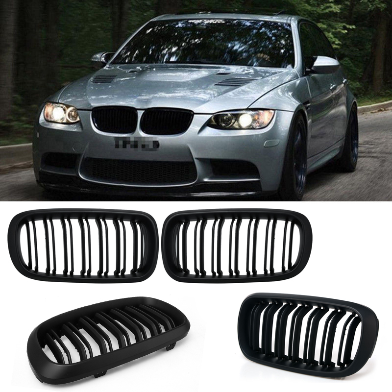 1pair Grille For BMW X5 F15 matte black Car Wide Kidney Double slat Grill Racing Grill Car styling