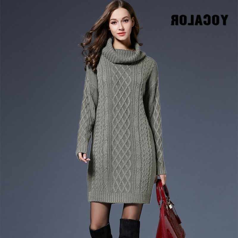 2018 зимнее вязаное платье-свитер плюс размер весеннее женское с длинным рукавом Водолазка черное вязаное платье женские платья для зимы