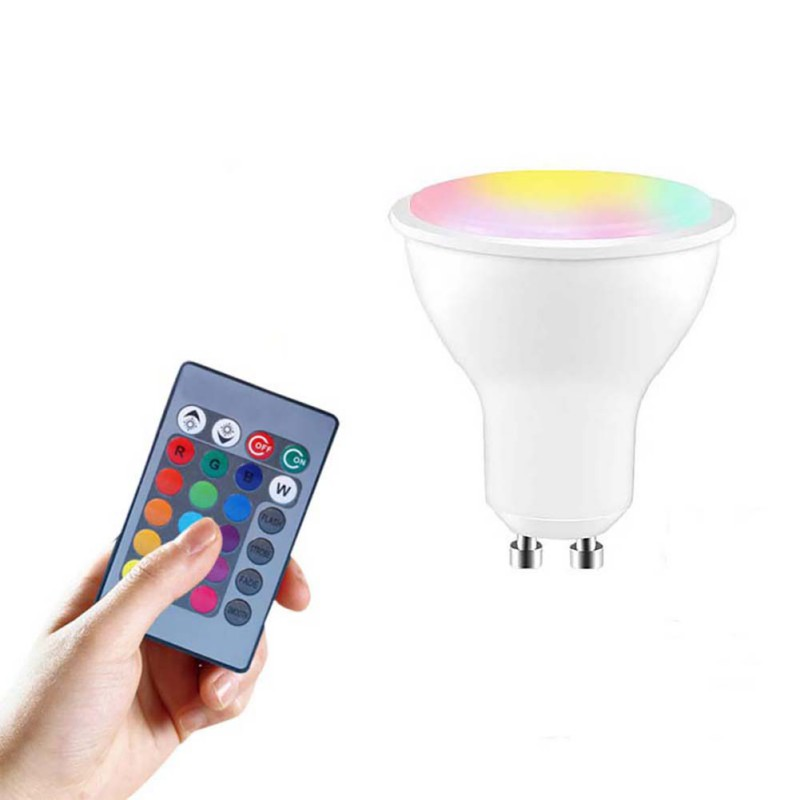 5W E27 GU10 LED Buble Remote Control RGBW Plastic Package Aluminum Lamp Remote Control Bulb