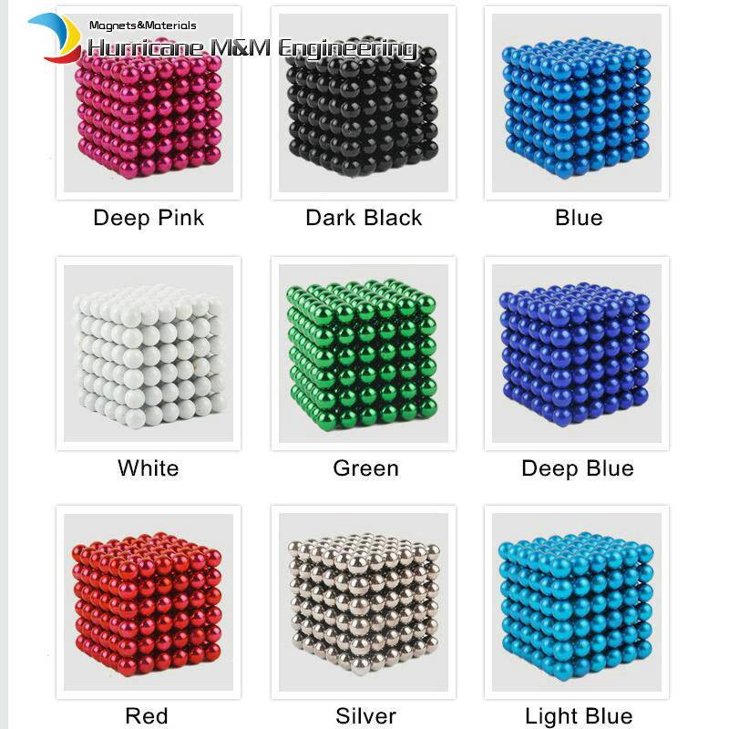 1 Set NdFeB Magnet Balls 5mm Diameter Multiple Colors Strong Neodymium Sphere D5 ball Permanent Rare Earth Magnets 216pcs/set