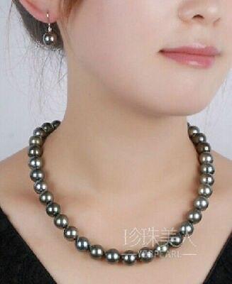 Boucles d'oreilles gratuites 18 ''9-10 MM naturel tahitien collier de perles noires 14K fermoir