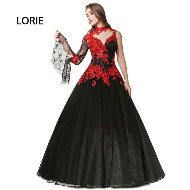 a4aa6a55ff7ef US $229.99 |Victorian Gothic Masquerade High Neck Ball Gown Black And Red  lace Arabic Wedding Dress Long Sleeves vestido de noiva vermelho-in Wedding  ...