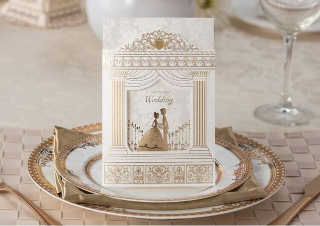 High Quality Wedding Invitation Card 170 113mm Amazing Palace Design 100pcs Lot With