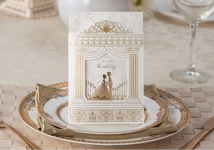 High Quality Wedding Invitation Card 170*113mm, Amazing Palace Design  100pcs/lot With