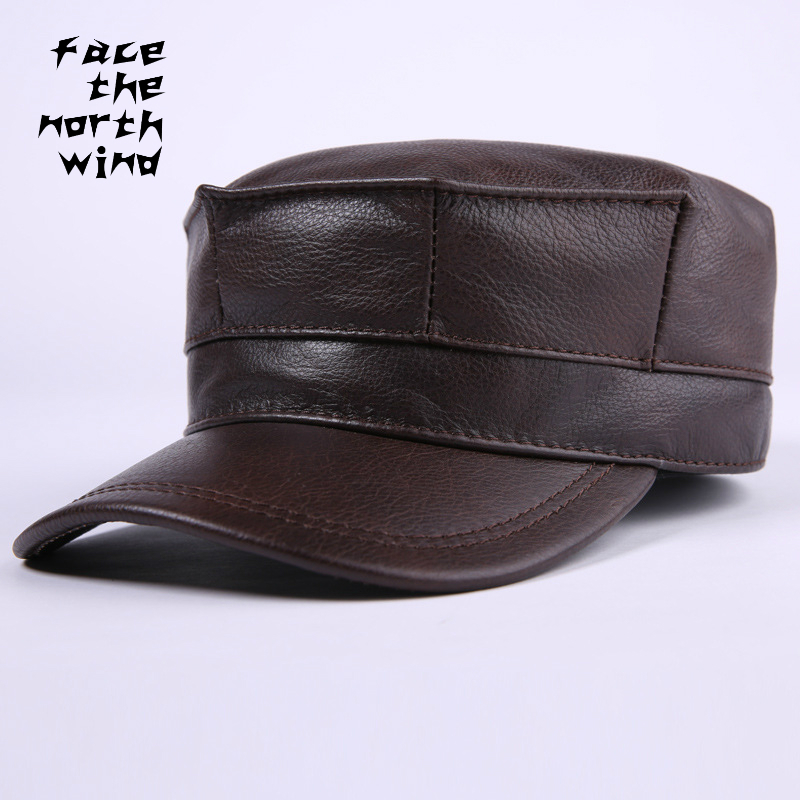 Autumn and winter New Genuine leather Hat Man Cowhide Flat cap fashion Keep warm Service cap Ear cap Peaked cap fashion winter hat solid color woolen flat top cap unisex autumn and winter cap w005