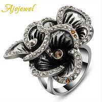 Vintage feminino três flores anel antigo grande cristal strass jóias