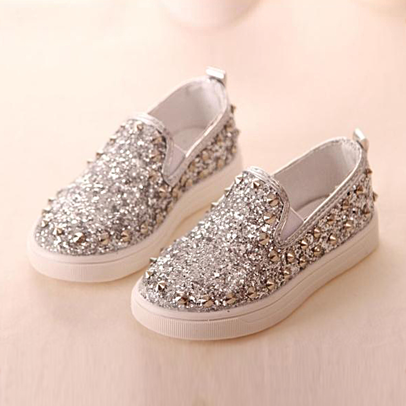 e36c642074c390 Rivet Bling Solid Leather Rubber Baby Girls Fashion Sneakers Princess  Jordan NK Air Children Toddler Kids Shoes Chaussure Enfant-in Sneakers from  Mother ...