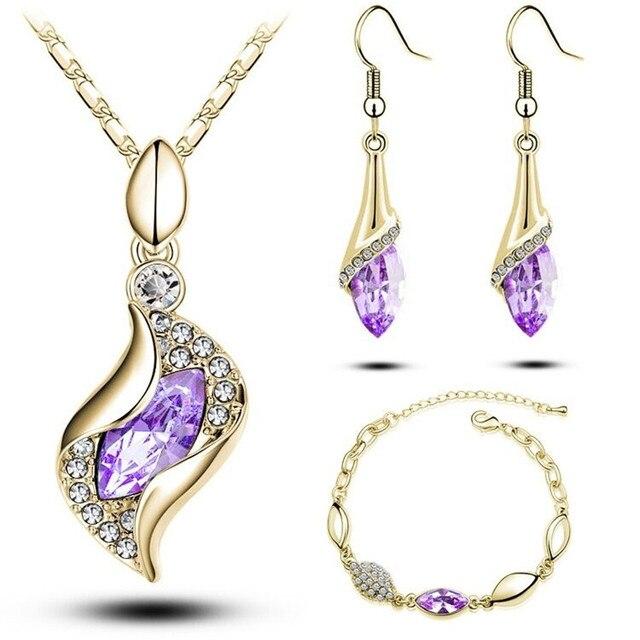 MODA מכירות מתנות יוקרה אלגנטית אופנה חדשה עיצוב זהב מלא צבעוני האוסטרי קריסטל Drop סטי נשים