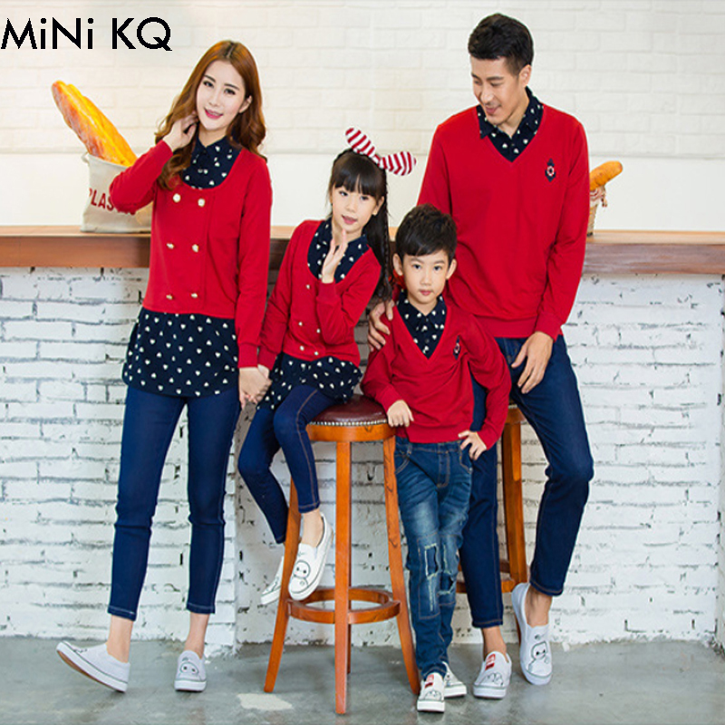 Fashion Autumn Winter Family Matching Outfits Father Son Mother Daughter Long Sleeve Fake Two Pieces Polo Clothes Patchwork Coat In