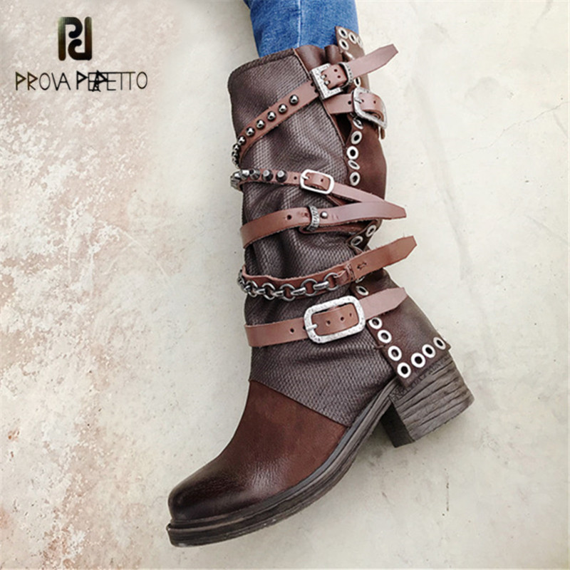 Prova Perfetto Punk Style Autumn Winter Women High Boots Rivets Studded 5CM Heel Botas Mujer Straps Platform Rubber Martin Boot prova perfetto punk style women martin boots platform flat botas mujer straps buckles rubber shoes woman knee high boots