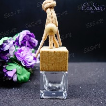 MX02T 6ML Popular Transparent Square Car Pendant Beech Lid Glass Perfume Hanging Bottle 100pcs/lot