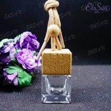 Pingente de vidro quadrado transparente da tampa, perfume de vidro, garrafa de pendurar MX02T 6ML 100, pçs/lote