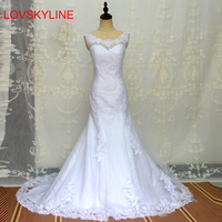 White Sexy Lace Mermaid Wedding Dresses fish Tail Plus Size Bridal Wedding dress Hot