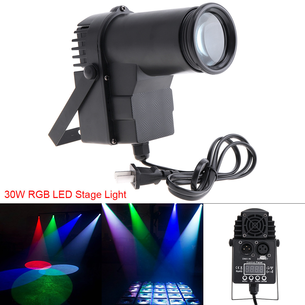 30W RGBW DMX LED Stage Light Pinspot Beam Spotlight Professional DJ Bar KTV Party Atmosphere Stage Lighting With Voice Control