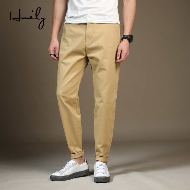 HMILY 2019 Spring Summer New Casual Pants Men Cotton Slim Fit Fashion Trousers Male Brand Clothing Plus Size FOR MALE