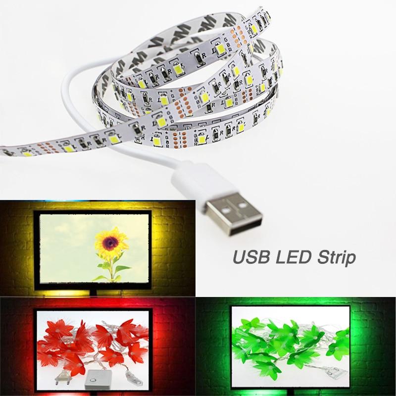 60led / m 1 M / 2 M / 3 M / 4 M / 5 M USB tira de luz 5 V 3528 smd + - Iluminación LED