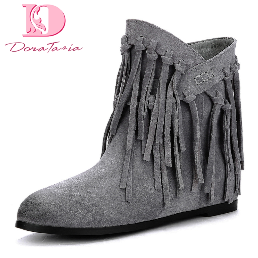 Doratasia New Plus Size 34-43 Cow Suede leather Slip On Women Boots Shoes Woman fringes boots Add Fur Ankle Boots Woman lo not equal пиджак