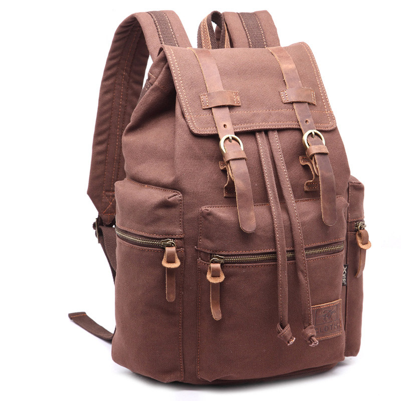 Unisex canvas computer bag with buckle buckle backpack Crazy horse leather large capacity backpack tide student leisure bagUnisex canvas computer bag with buckle buckle backpack Crazy horse leather large capacity backpack tide student leisure bag