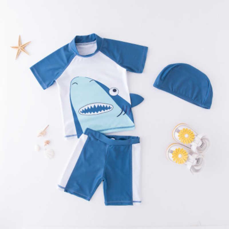 ملابس سباحة للأطفال الصبي البوليستر ديناصور الشاطئ ملابس السباحة الاطفال ملابس السباحة السباحة زي + قبعة قصيرة الأكمام قمم + قيعان الشمس حماية