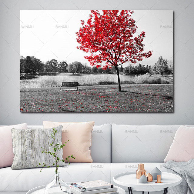 Wall Picture Canvas Painting Poster Art Print On Landscape Flower Tree Home Living Room No Frame