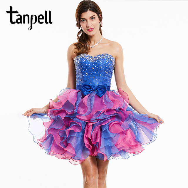 Tanpell strapless cocktail dress royal blue sleeveless beaded bowknot above knee ball gown women party short cocktail dresses