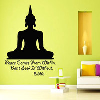 Peace Comes From Within Quotes Wall Decal Art Yoga Meditation Pose Buddha Wall Sticker Home Decor