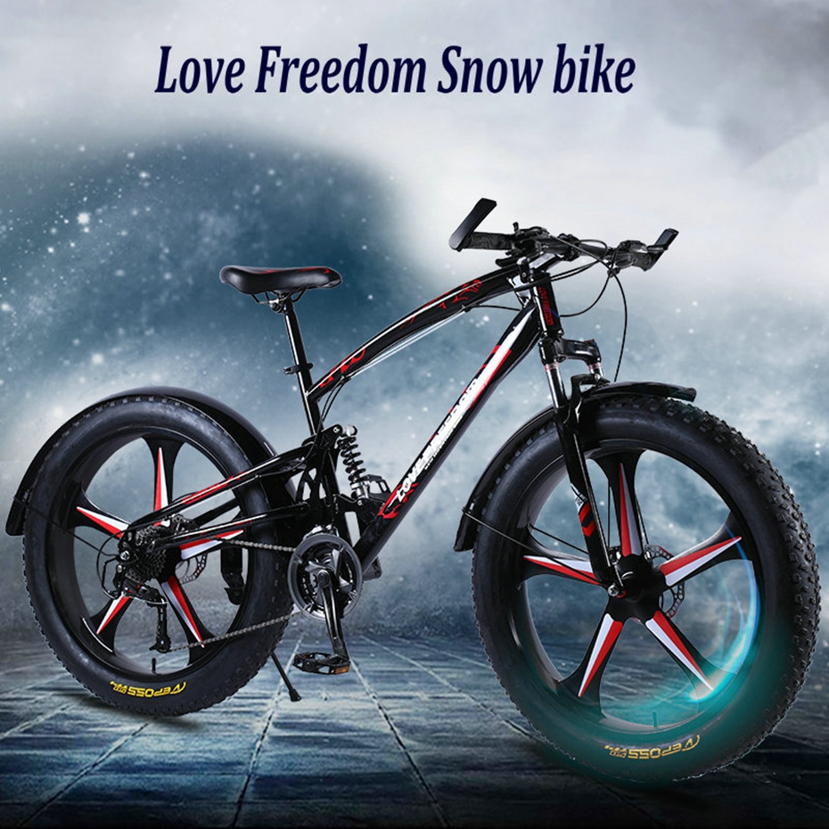 HTB1XQODa5frK1RjSspbq6A4pFXal Love Freedom High Quality Bicycle 7/21/24/27 Speed 26*4.0 Fat Bike Front And Rear Shock Absorbers double disc brake Snow bike