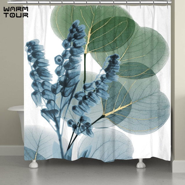9 Styles Floral Shower Curtain Romantic Tulip Blooms Flower Meadow Fresh Feminine Buds Watercolor Paint Effect