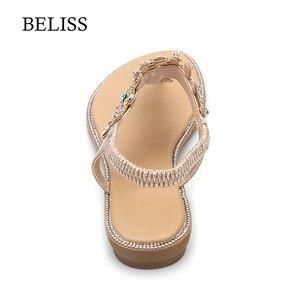 Image 5 - BELISS 2019 Wohnungen Frau Sandalen T Strap Mode Weibliche Schuhe Peep Toe Strass Sommer Wohnungen sandalen Flip Flops Frauen s66