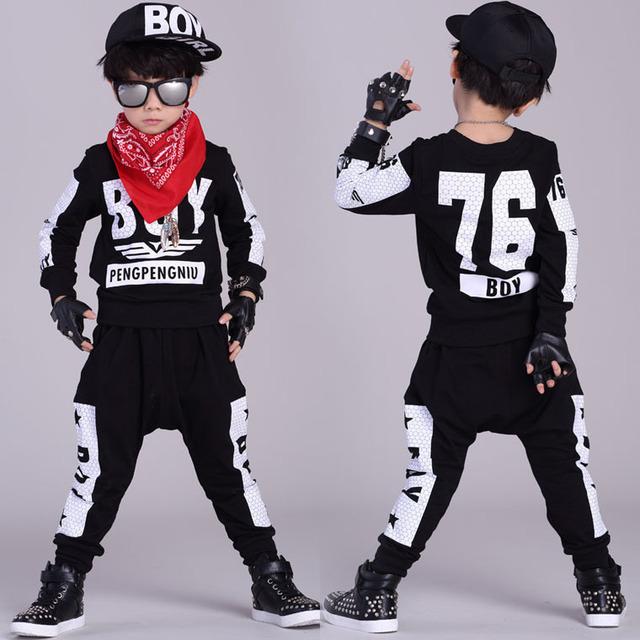 2016 Nova moda Primavera Outono das crianças conjunto de roupas Trajes crianças dos ternos do esporte Hip Hop calças harém streetwear & camisola