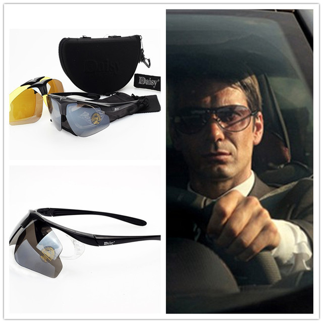 58594ee2862 Daisy C1 Tactical Motorcycle Cycling Sunglasses Men Bicycle Riding Outdoor Sport  Goggles 3 Lenses Gafas Fishing Hiking Eyewear