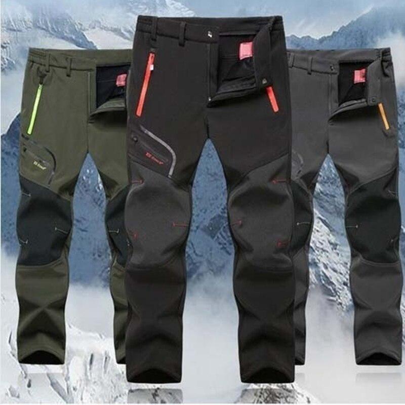 HTB1XQOZaDnI8KJjSszbq6z4KFXa1 2019 Winter Men Cargo Pants Elastic Waist Travel Softshell Trousers Waterproof Windproof Thermal Men's Warm Men's Trousers