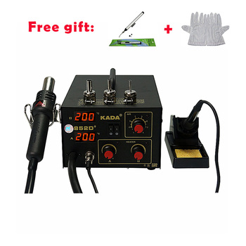 ESD Hot Air Gun and Solder Iron 2 in 1 BGA Soldering Station KADA 852D plus With Free Antistatic Gloves And Vacuum Suction Pen