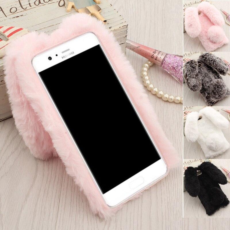 Etui téléphone huawei P10 housse, fourrure de lapin poilu doux TPU Coque arrière pour fundas huawei P10 Plus oreilles de lapin garder au chaud rose & ...
