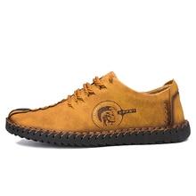 2018 New Men Casual Shoes Loafers Men Shoes Quality Split Leather Shoes Men Flats Hot Sale Moccasins Shoes Big Size