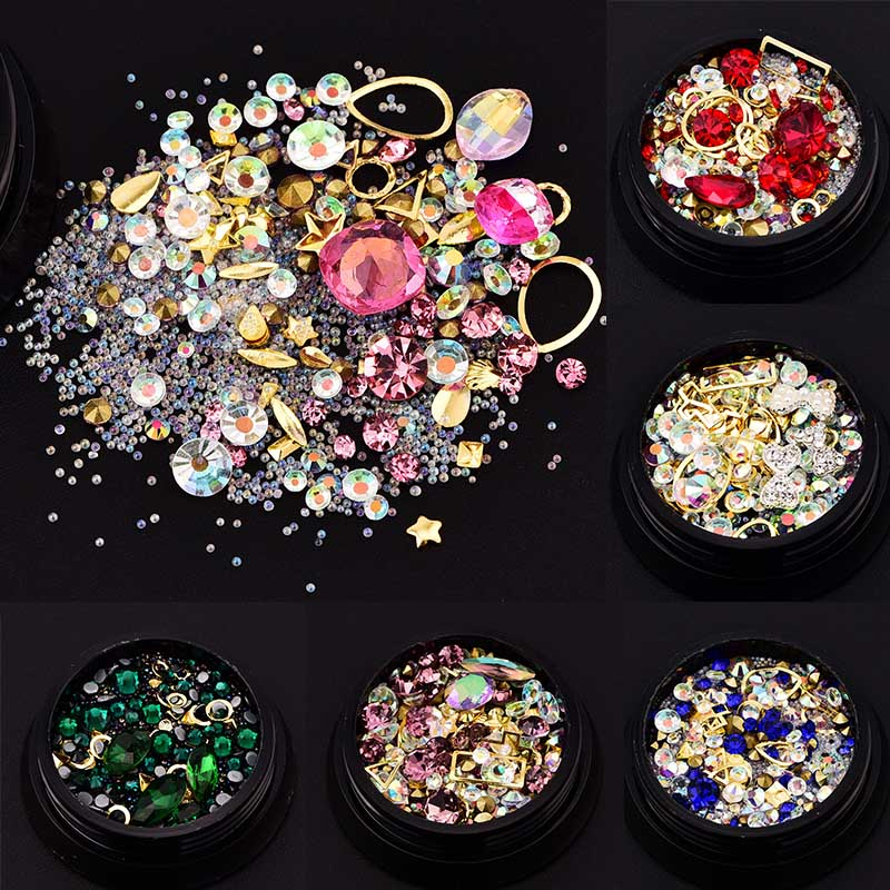 Jewelry Strass Caviar Pearl Nail Decoration Black Micro Drill Hybrid Boxed Colorful Crystal Sand Stones