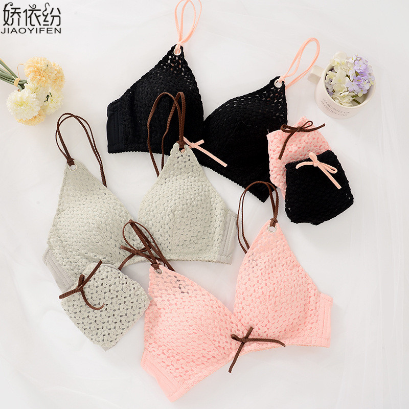 JYF Brand Sexy Embroidery Wire Free Underwear   Set   Sweet Bowknot Cute Girl   Bra     Set   New Breathable Women   Bra     Brief     Sets