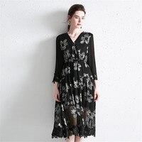 Hodisytian Elegant Women Summer Dress A line Floral Robe Boho Mulberry Silk Sundress Loose V neck Three Quarter Vestido Femme